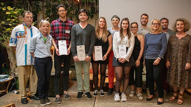 Photo des finalistes du concours Design Zéro Déchet 2019 lors de la remise des prix le 4 juin 2019 au Comptoir Général (Paris).