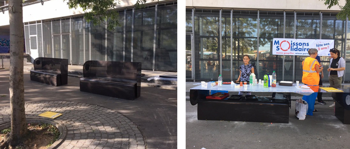 """Inauguration du """"banc de glanage"""" Glean sur le marché de Vitry-sur-Seine le 21 septembre 2019."""