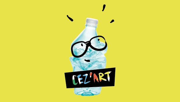 Photo de la mascotte Cez'Art : une bouteille plastique à lunettes