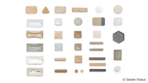 Photos du travail sur les textures obtenues à partir des déchets coquillés pour le projet Calcite de Sanam Viseux.