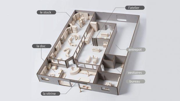 Photo d'une maquette de l'Université Populaire du Bricolage