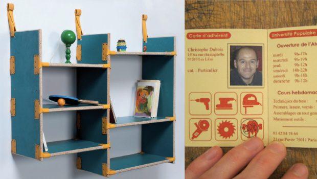 Photo d'une étagère réalisée à partir de bois de récupération à l'Université Populaire du Bricolage, et photo d'une carte de membre.