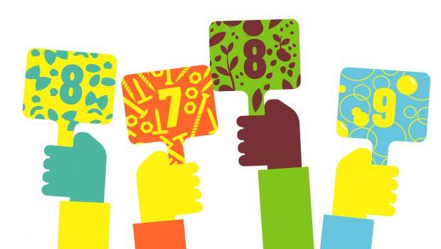Illustration de 4 mains brandissant des panneaux avec des notes