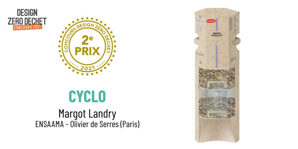 Perspective du projet Cyclo, 2e prix du concours Design Zéro Déchet 2021 créé par Margot Landry de l'ENSAAMA Olivier de Serres.