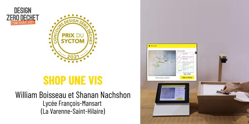 Perspective du projet Shop une vis, Prix du Syctom du concours Design Zéro Déchet 2021, créé par William Boisseau et Shanan Nachshon du Lycée François-Mansart.